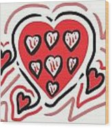Red And Pink Hearts 2 Wood Print