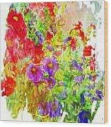 Red And Purple Calibrachoa - Digital Paint II Wood Print