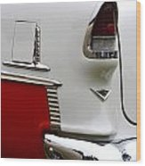 Red And White 1955 Chevy Wood Print