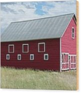 Red And White Barn Wood Print