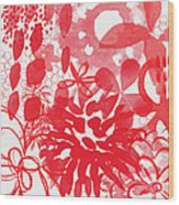 Red And White Bouquet- Abstract Floral Painting Wood Print
