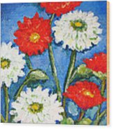 Red And White Flowers With A Blue Sky Wood Print