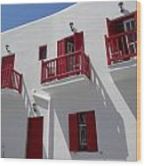 Red And White In Mykonos Wood Print