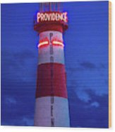 Red And White Lighthouse Shows Neon Wood Print