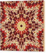 Red And White Patchwork Art Wood Print
