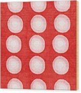Red And White Shibori Circles Wood Print