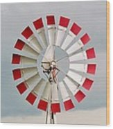 Red And White Windmill Wood Print