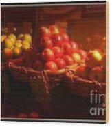 Red And Yellow Apples In Baskets Wood Print