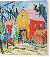 Red And Yellow Barn Wood Print