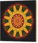 Red And Yellow Marigold V Flower Mandala Wood Print