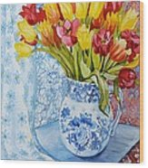 Red And Yellow Tulips In A Copeland Jug Wood Print