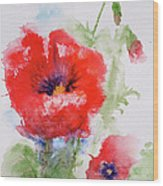 Red Anemones Wood Print