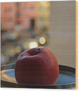 Red apple on a tray Wood Print
