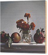 Red Apples And Marigolds Wood Print