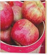 Red Apples In Baskets At Farmers Market Wood Print
