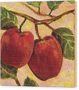 Red Apples On A Branch Wood Print