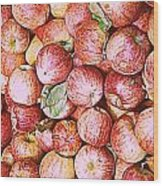 Red Apples With Green Leaf Wood Print