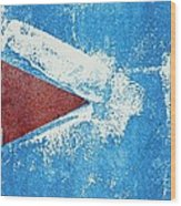 Red Arrow Painted On Blue Wall Wood Print