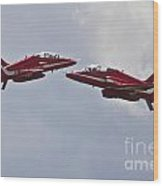 Red Arrows Cross Over Wood Print