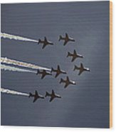 Red Arrows Flying Into The Sun Wood Print