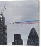 Red Arrows Flypast Over The City Of London Wood Print