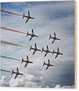 Red Arrows In Typhoon Formation Wood Print