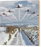 Red Arrows Over Epen Wood Print