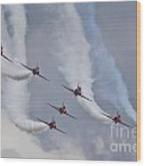 Red Arrows Roll Left Wood Print