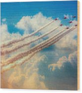Red Arrows Smoke The Skies Wood Print