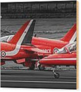Red Arrows Threesome Take-off Wood Print