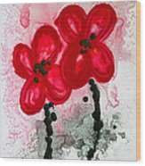 Red Asian Poppies Wood Print