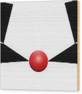 Red Ball 11a H Panoramic Wood Print