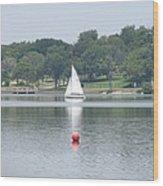 Red Ball Sailing Wood Print