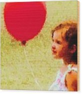 Red Balloon Two Wood Print
