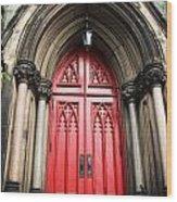 Red Baltimore Door Wood Print