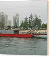 Red Barge Wood Print