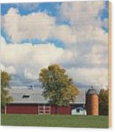 Red Barn And Clouds Wood Print