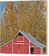 Red Barn And Fall Colors Wood Print
