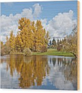 Red Barn And Fall Colors Reflected In A Pond Wood Print