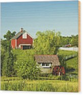 Red Barn And Water Mill On Farm In Maine Wood Print