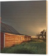Red Barn At Sundown Wood Print