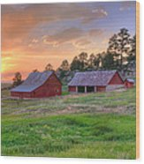 Red Barn At Sunset Wood Print