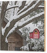 Red Barn Birdhouse On Tree In Winter Wood Print