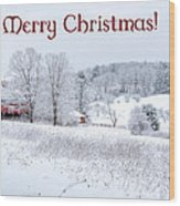 Red Barn Christmas Card Wood Print