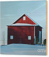 Red Barn During Illinois Winter Wood Print by Luther Fine Art
