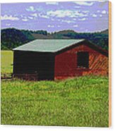 Red Barn Farm Wood Print