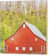Red Barn Green Hillside Wood Print