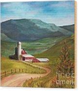 Red Barn Hillside Farm Wood Print