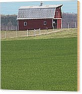 Red Barn In Greener Pastures Wood Print