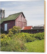 Red Barn In Groton Wood Print